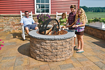 Family enjoys fire pit