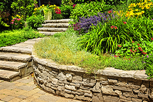 mixed stonework patio
